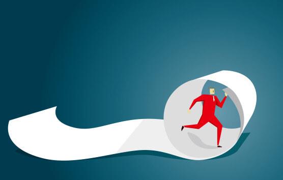 man running in payroll ribbon